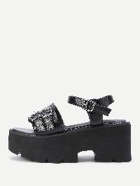 Double Buckle Strap Wedge Sandals