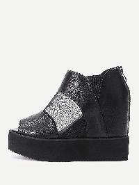 Sheer Mesh Insert PU Flatform Shoes