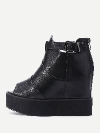 Buckle Strap PU Flatform Shoes