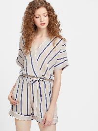 Pinstripe V Neck Wrap Top With Drawstring Cuffed Shorts