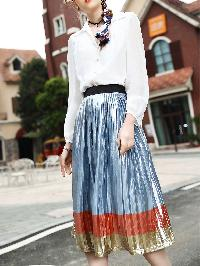 V Neck Shirt Top With Pleated Skirt