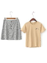 Short Sleeve Casual Tee With A Line Skirt