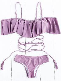 Purple Ruffle Detail Strappy Bikini Set