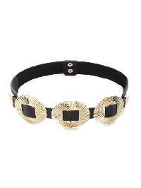 Gold Double Buckle Textured Trim Belt