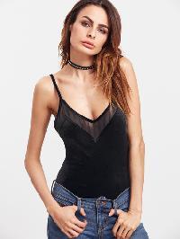Black Mesh Panel Velvet Cami Bodysuit