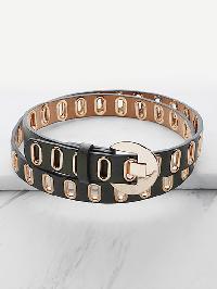 Metal Eyelet Faux Leather Buckle Belt