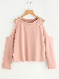 Pink Cold Shoulder Raw Edge Sweatshirt