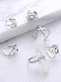 Multi Shaped Cuff Ring Set