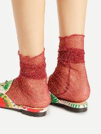 Glitter Side Seam Ankle Socks