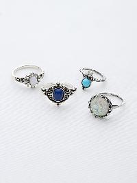 Gemstone Detail Ring Set