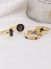 Contrast Gemstone Ring Set