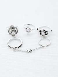 Gemstone Chain Linked Ring Set