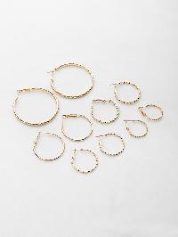 Multi Shaped Textured Hoop Earrings Set