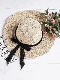 Lace Bow Tie Straw Hat