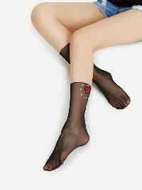 Flower Patch And Faux Pearl Sheer Mesh Ankle Socks