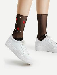Heart Patch And Faux Pearl Sheer Mesh Ankle Socks