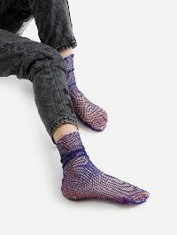 Frayed Trim Fishnet Ankle Socks