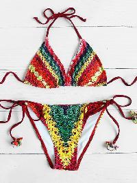 Mixed Print Triangle Bikini Set