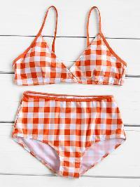 Gingham Print High Waist Bikini Set