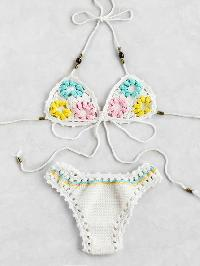 Flower Embellished Strappy Crochet Bikini Set