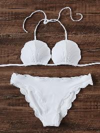 Scalloped Trim Shell Shaped Bikini Set