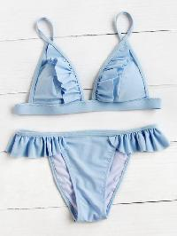 Frill Detail Triangle Bikini Set