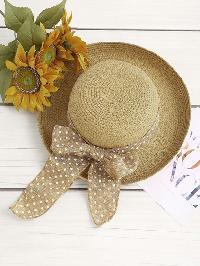 Polka Dot Bow Tie Straw Hat