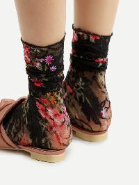 Calico Print Lace Ankle Socks