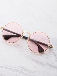 Two Tone Frame Round Sunglasses