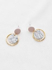 Marble Effect Ring Drop Earrings