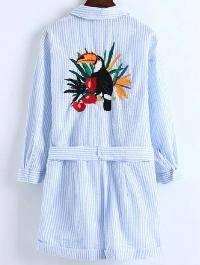 Pinstrip Embroidery Back Playsuit With Self Tie