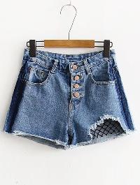 Ripped Raw Hem Open-Mesh Denim Shorts