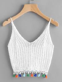 Fringe Trim Knitted Cami Top