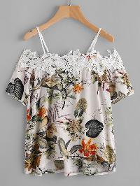 Tropical Print Contrast Crochet Trim Top