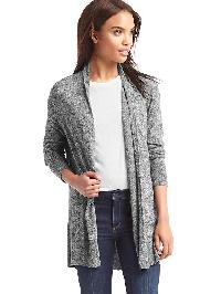 Gap Easy Open Front Cardigan - Charcoal heather
