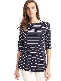 Gap Stripe Layer Nursing Tee - Navy/white stripe