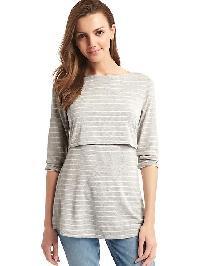 Gap Stripe Layer Nursing Tee - Gray/white stripe