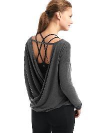 Gapfit Breathe Drape Back Long Sleeve Top - Charcoal grey