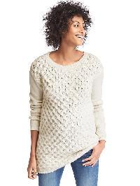Gap Honeycomb Cable Sweater Tunic - Snow cap