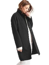 Gap Wool Blend Car Coat - True black