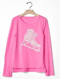 Gap Embellished Graphic Hi Lo Tee - Sugar plum neon