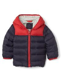 Gap Coldcontrol Max Colorblock Hoodie Puffer - Blue uniform