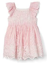 Gap Print Eyelet Flutter Dress - Apple blossom