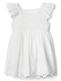 Gap Print Eyelet Flutter Dress - White