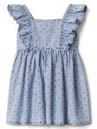 Gap Floral Chambray Flutter Dress - Light wash