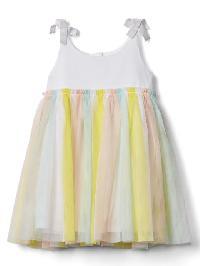 Gap Pastel Stripe Tulle Dress - Optic white