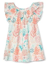 Gap Coral Reef Ruffle Dress - Ivory frost