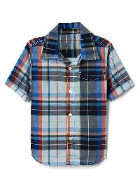 Gap Plaid Short Sleeve Pocket Shirt - Pacific mist