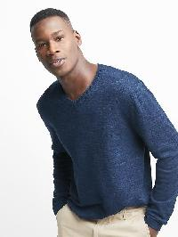 Gap Cotton Linen V Neck Pullover - Navy heather
