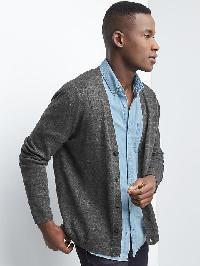 Gap Cotton Linen V Neck Cardigan - Soft black